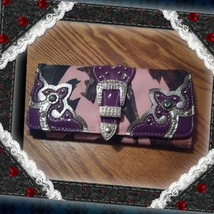 Handbags - Western purple/camo wallet
